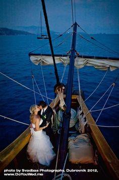 Karaka Boat Wedding in late sunset cruising to Cavtat, Dubrovnik, Croatia
