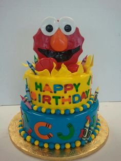 Elmo cake! Very interesting way of making it, look at the fondent upclose. from Sweet Eats Bakery in Voorhees, NJ