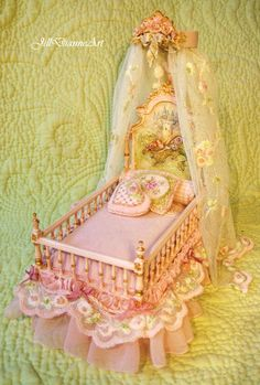Jill Dianne Art: Miniature Art    Hand-painted Pink Sleeping Fairy Bed with hand-sculpting and embroidery.  From the collection of Aubrienne Krysiewicz-Bell.