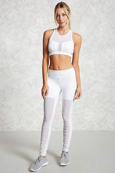Active Mesh-Panel Leggings | Forever 21 - 2000091633