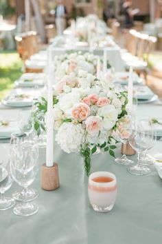Blush, cream and mint tablescape: http://www.stylemepretty.com/california-weddings/2015/10/30/elegant-artisanal-lakeside-wedding/ | Photography: Silvana DiFranco - http://silvanadifranco.com/