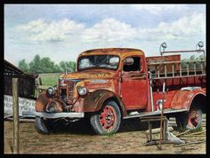 Colored Pencil Painting - Fire Engine