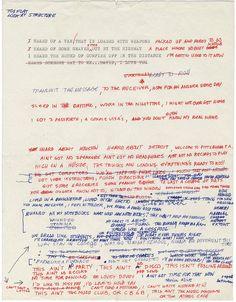 David Byrne : Life During Wartime original handwritten lyrics.