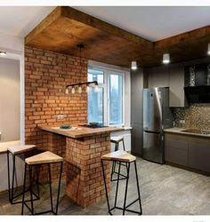 Most Inspiring Small Dining Decor Ideas That You Can Try Modern House Design, Modern Interior Design, Interior Design Living Room, Room Interior, Industrial Apartment, Industrial Chic, Apartment Kitchen, Minimalist Dining Room, Loft Interiors