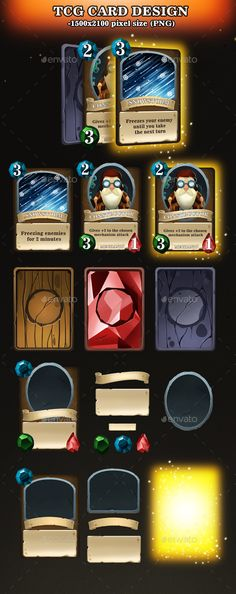 Unique cards designed for your game project, come in 3 colors style variants and have 2 Front card styles. - 17 Png - 5 PSD files-