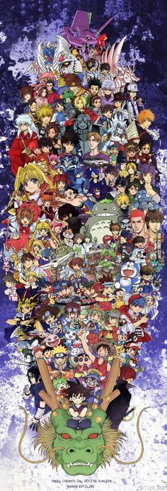 I see... Pokemon, One Piece, Digimon, Sonic, Totoro, d gray man, sailor moon, Tokyo mew mew, mar, bleach, naruto, mermaid melody, inuyasha, princess tutu, astro boy, prince of tennis?, yugi oh, spirited away?, dragon ball?