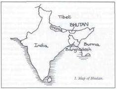 Mapa de Asia: Bután es entre la India y China, al norte de Bangladesh, al este de Nepal.