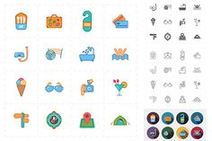 16 flat travel icons by Anton on @creativemarket
