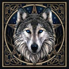 """""""Wild One"""" Cross Stitch Pattern - Pure enchantment! Fall under the spell of the mesmerizing gaze of this blue-eyed wolf, based on artwork by Lisa Parker. Design measures 350 stitches wide by 353 stitches high.  Copyright - Heaven and Earth Designs, Inc. #CountedCrossStitchPatterns-CelticCrossStitchPatternsPaganCrossStitchPatternsFantasyCrossStitchPatternsandmore #Wolves #GryphonsMoon"""