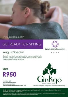 Detoxify your body and get ready for warmer weather with a 60min Ginkgo Detox Body Wrap.
