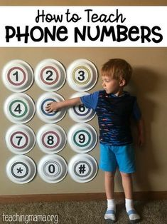 How to Teach Phone Numbers - a fun hands-on way to teach children how to dial important phone numbers. Bildungsniveau Hands On Way to Teach Phone Numbers Preschool Learning Activities, Preschool At Home, Home Learning, Preschool Math, Educational Activities, Fun Learning, Toddler Activities, Teaching Kids, Nursery Activities