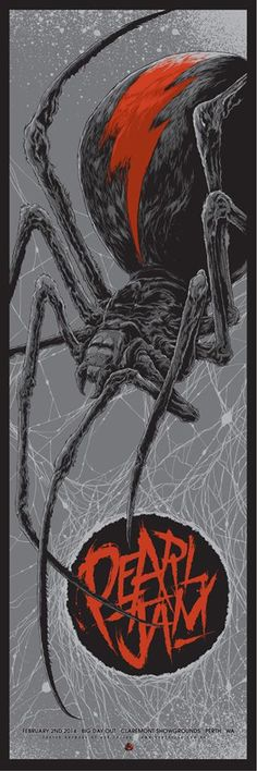 Ken Taylor's poster for Pearl Jam. 12″ x 36″ screenprint, has an artist edition of 100