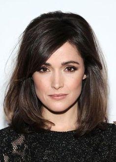 Rose byrne, dark brown hair, long bangs; such high quality hair!! That is a dream
