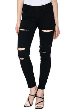 b93bdbe7257 Glostory Women Skinny Ripped Jeans Distressed Five Pocket Stretch Denim  Pants    See this great image   Plus size jeans
