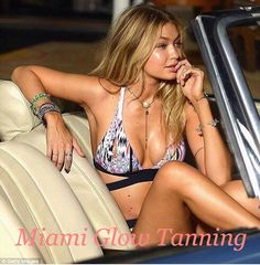Gigi Hadid chose Miami Glow Tanning, using Aviva Labs spray tans, for the Seafolly swimwear shoot in Miami Beach in 2015