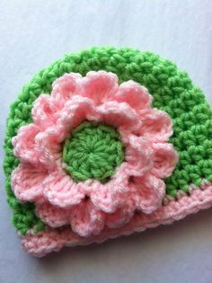 Spring Green Crochet Baby Hat, Soft Pink Flower, Crochet Baby Hat, Newborn Hat, Baby Hat, Spring Green Hat, Hat with Flower, Baby Girl Hat. $22.00, via Etsy.