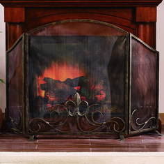 Fleur de Lis Fireplace Screen Wonderful iron fireplace screen featuring a fleur de lis in the middle of the screen surrounded by elegant scrollwork and sculptured in fashion sure to enhance your room's decor.