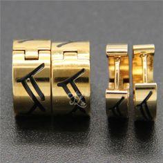 Free Shipping Wholesale Brand New Design Women Girl Stainless Steel Gold Plated Black Stripes Huggie Hoop Earrings