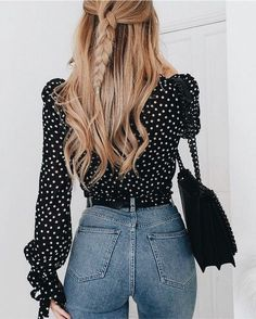 Polka dots with light wash jeans and a black bag! Classy and cute! Beautiful!