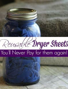 DIY Reusable Dryer Sheets – Looking for a great way to cut your laundry costs? These DIY Reusable Dryer Sheets are just the ticket! You& never buy fabric softener sheets again after you try these! All natural, chemical free and budget friendly too! Homemade Cleaning Products, Cleaning Recipes, Natural Cleaning Products, Cleaning Hacks, Diy Hacks, Cleaning Supplies, Household Products, Natural Cleaning Solutions, Laundry Solutions