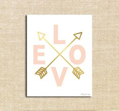 Pink Love and Gold Arrows Digital Printable Art| Instant Download Print for Wall Decor DIY Nursery Decoration or Gift | Happy Valentines Day