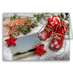 Red Christmas Santa Monica Pier Greeting Cards: greeting card, note card, christmas card, merry christmas, seasons greetings, holiday greeting card, winter