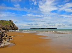Lydstep beach, Pembrokeshire. We got engaged at the top of that cliff!