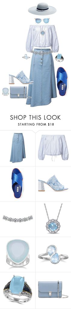 """""""Blue Denim Skirt"""" by blujay1126 ❤ liked on Polyvore featuring Sea, New York, Miu Miu, Polly Plume, BillyTheTree, Effy Jewelry, Valentino, Maison Michel and Taylor Morris"""