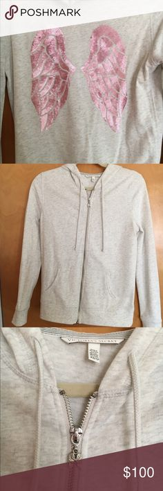 NWOT Victoria's Secret Angel wing hoodie BRAND NEW, gorgeous Victoria's Secret angel wing hoodie. This is a heathered light gray with beautiful pink sequins on the back. Absolutely perfect condition. I do not believe that these are being made anymore! Size XS. I have never worn this so I am just trying to get most of my money back😊 Victoria's Secret Tops Sweatshirts & Hoodies