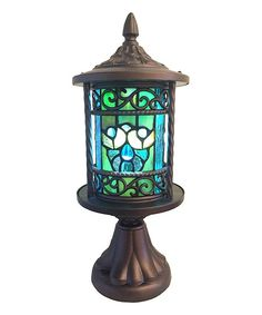Swirling Shells Stained Glass Outdoor Lantern