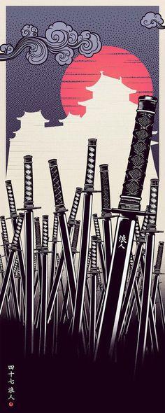 Cool Collection of 47 RONIN Fan-Made Poster Art — GeekTyrant - samurai sword 47 Ronin, Ronin Samurai, Samurai Swords, Katana Swords, Samurai Warrior, Japanese Artwork, Japanese Tattoo Art, Japanese Poster, Japanese Art Samurai