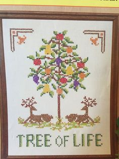 """Tree Of Life"" cross stitch Kit DEER & FRUIT Embroidery Needlecraft Colorful #Needlecraft #Frame"
