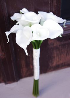 Silk Wedding Bouquet with Calla Lilies - Natural Touch Off White Callas Silk Bridal Flowers on Etsy, $42.00