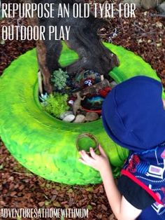 Adventures at home with Mum: DIY Dinosaur theme Garden in Recycled Tyre Outdoor Activities For Kids, Outdoor Learning, Summer Activities, Kid Activities, Natural Play Spaces, Outdoor Play Spaces, Learning Through Play, Kids Learning, Preschool Garden
