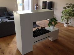 double sided freestanding electric fireplace- perfect room devider