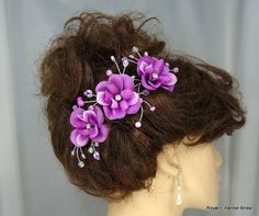 Orchid Rose Hair Pin Trio Wedding Hair Accessory by RoyalEXander, $29.15