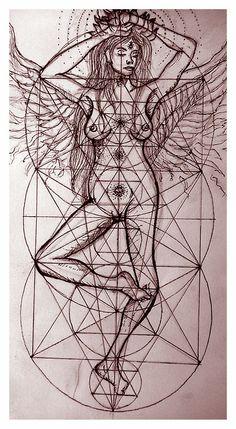 Nude with sacred geometry art by Jasmin Powell - Like us on https://www.facebook.com/suryainkfamily