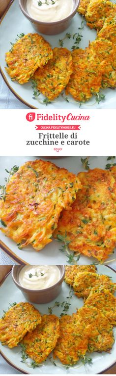 Frittelle di zucchine e carote Finger Food Appetizers, Finger Foods, Appetizer Recipes, Salad Recipes, Cooking Recipes, Healthy Recipes, Zucchini, Weird Food, Food For A Crowd