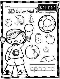 SOLIDS - Adorable way to practice solids - Kindergarten worksheets - kindergarten geometry common core math unit Shape Activities Kindergarten, Kindergarten Centers, Kindergarten Worksheets, Math Centers, Teaching Shapes, Teaching Math, Teaching Tools, Math Concepts, First Grade Math