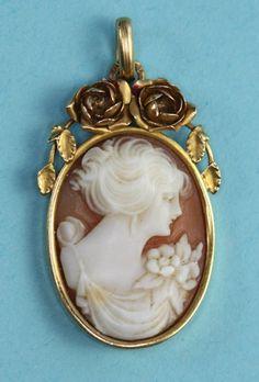 Vintage Carved Cameo Pendant 15K Gold  Floral by PastSplendors