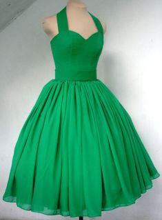 Rehersal dinner dress Stunning halter neck 50s cocktail dress in light emerald green chiffon