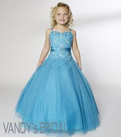 blue wedding dresses | ... straps Floor-Length Sleeveless Tulle Blue Flower Girl Dress (JSAS7954