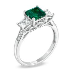 6.0mm Princess-Cut Lab-Created Emerald and White Sapphire Ring in 10K Gold - Zales