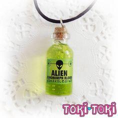 Alien Blood Bottle Necklace Bottle Charm Glass by MadeByTokiToki