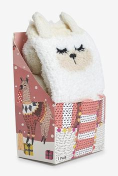 Buy Oatmeal Bear Cosy Socks In Box from the Next UK online shop Cosy Socks, Bed Socks, Llama Socks, Girls Socks, Lingerie Collection, Uk Online, Christmas Stockings, Aw 17, Hosiery