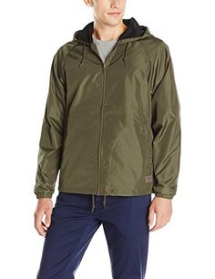 Brixton Mens Claxton Standard Fit Hooded WaterRepellant Windbreaker Jacket * Check this awesome product by going to the link at the image.