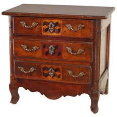 18th-c. French Miniature Chest of Chestnut
