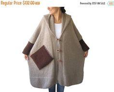 VENTA de invierno tallas grandes en tamaño Mohair Beige abrigo