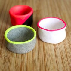 Hold tiny treasures in these polymer clay pinch pot with a trendy neon accent!