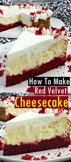 How to Make Red Velvet Cheesecake – Dessert & Cake Recipes - Red Velvet Cake Red Velvet Brownies, Red Velvet Cheesecake Cupcakes, Velvet Cake, Red Velvet Chocolate Cake, Christmas Cheesecake, Christmas Desserts, Christmas Baking, Mini Cheesecake Recipes, Dessert Cake Recipes